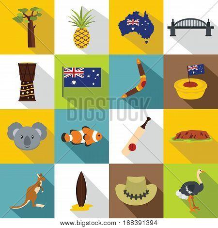 Australia travel icons set. Flat illustration of 16 Australia travel vector icons for web