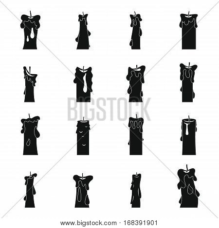 Candle forms icons set. Flat illustration of 16 candle forms vector icons for web