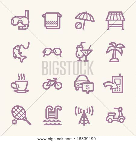 Travel web icons.  Vacation and transport, booking and delivery symbol, vector signs