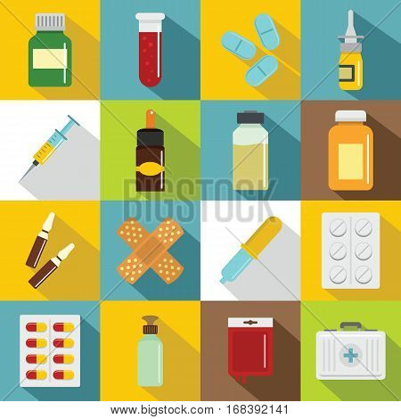 Different drugs icons set. Flat illustration of 16 different drugs vector icons for web