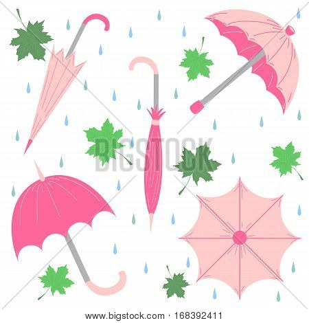 Set of Hand Drawn Glamorous Pink Umbrellas Maple Leaves and Drops. Perfect for Print. Flat Umbrellas. Vector Illustration.