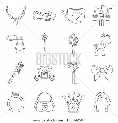 Doll princess items icons set. Outline illustration of 16 doll princess items vector icons for web