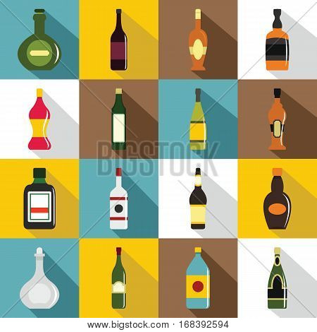 Bottle forms icons set. Flat illustration of 16 bottle forms vector icons for web