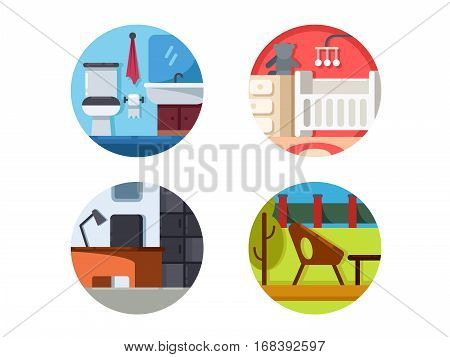 Furniture icons of set. Bathroom and children room. Vector illustration. Pixel perfect icons size - 128 px