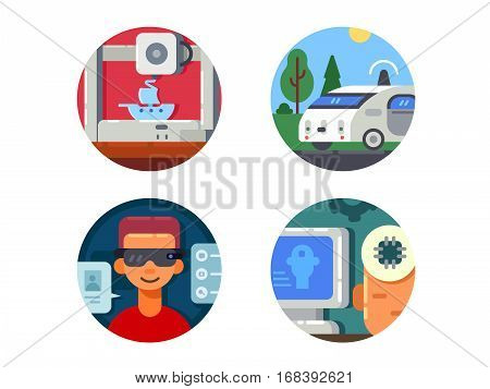 Innovative technology set. 3d printer and virtual glasses. Vector illustration. Pixel perfect icons size - 128 px