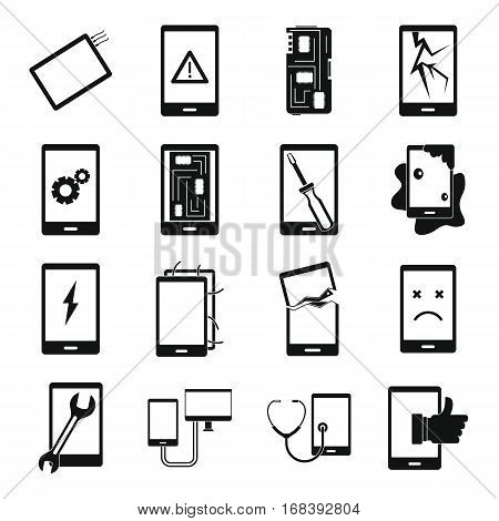 Device repair symbols icons set. Simple illustration of 16 device repair symbols vector icons for web