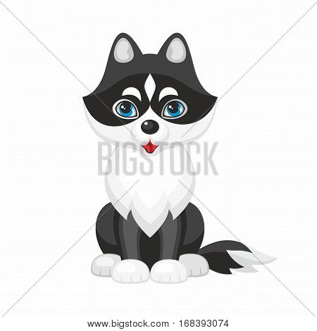 Husky. Vector image of a cute purebred dogs in cartoon style.