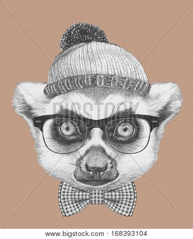 Portrait of Lemur with glasses, hat and bow tie. Hand drawn illustration.