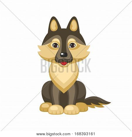 German shepherd. Vector image of a cute purebred dogs in cartoon style.