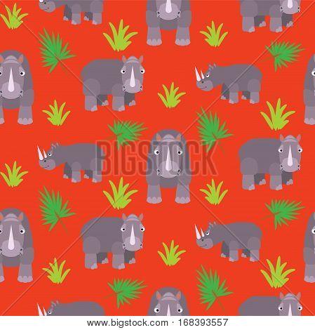 Rhino cartoon vector seamless red pattern. Savannah wild animal background.