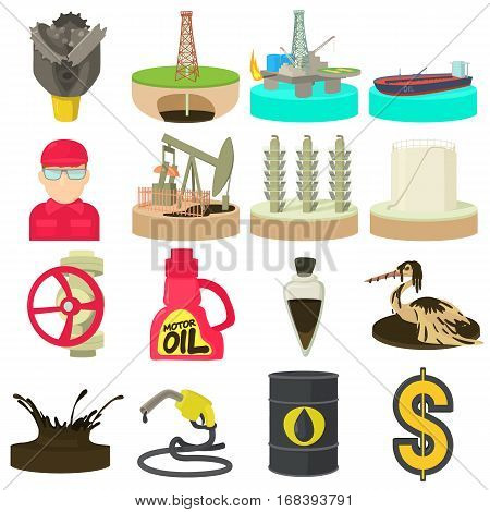 Oil and energy industry icons set. Cartoon illustration of 16 oil and energy industry vector icons for web