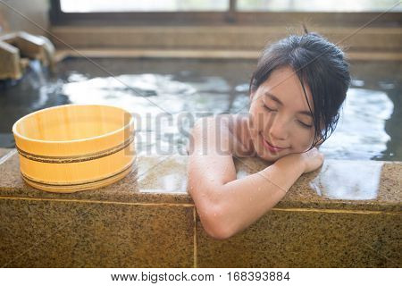 Young Woman in Japanese onsen