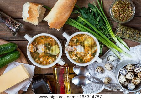 Homemade Soup With Chicken And Vegetables