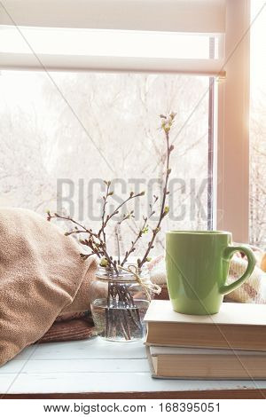 Cup Of Coffee, Branch Of Cherry On Windowsill