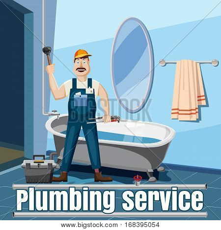 Plumber repair service concept. Cartoon illustration of Plumber repair service vector concept for web