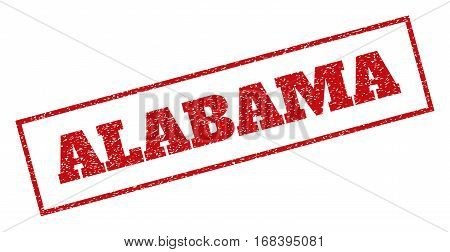 Red rubber seal stamp with Alabama text. Vector message inside rectangular frame. Grunge design and scratched texture for watermark labels. Inclined sign.