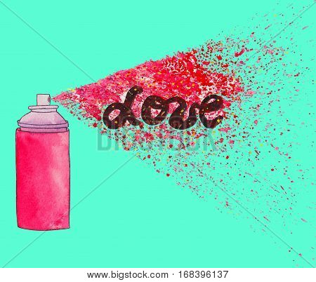 Love poster. Graffiti street art illustration with paint splashes, splatters and dribbles. Colorful watercolor painting on teal background.