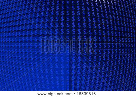 blue background in the form of dollar 3D illustration