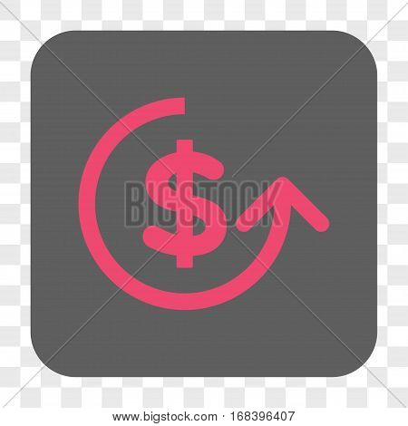 Chargeback interface toolbar button. Vector icon style is a flat symbol on a rounded square button pink and gray colors chess transparent background.