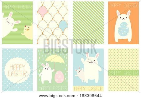 Collection of Easter banner, background, flyer, placard in hand drawn style with rabbit. Poster set for scrapbooking. Vector template card for greeting, decoration congratulation in retro pastel color