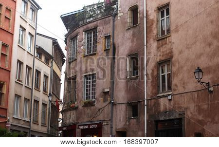 Lyon, France - December 20, 2016: The old house and the street in the historic center -December 20 2016 in Lyon, France