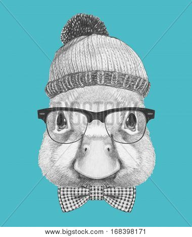 Portrait of Duck with hat, glasses and bow tie. Hand drawn illustration.