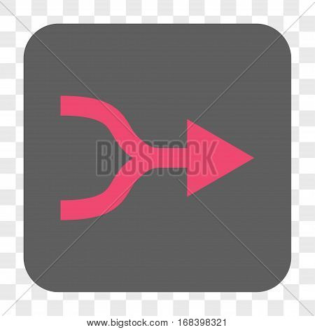 Combine Arrow Right interface toolbar button. Vector icon style is a flat symbol on a rounded square button pink and gray colors chess transparent background.