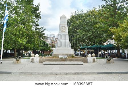 PYLOS PELOPONNESE GREECE, AUGUST 12 2015: monument of the Battle of Navarino at the Three Admirals square Pylos Peloponnese greece. Editorial use.
