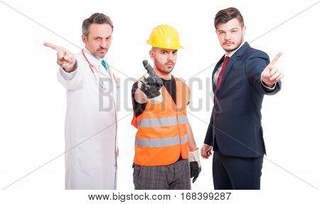 Serious Men Showing Refusal Gesture