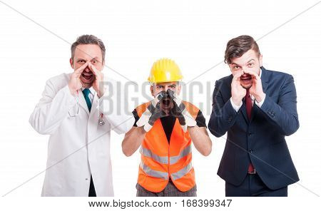 Frustrated Group Of Men With Different Professions