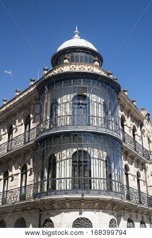 Salamanca (Castilla y Leon Spain): facade of typical historic building with balconies and verandas