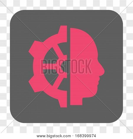 Cyborg Gear interface toolbar button. Vector icon style is a flat symbol inside a rounded square button pink and gray colors chess transparent background.