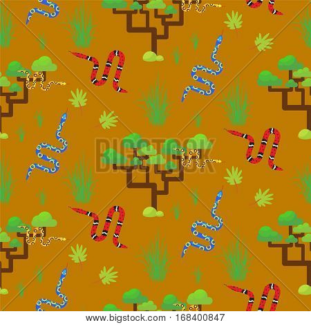 Savannah landscape seamless pattern vector. Poisonous snakes and trees on sandy background.