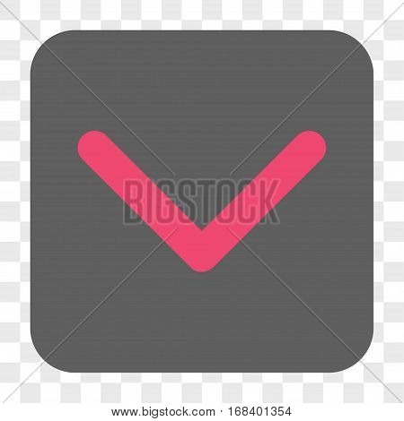 Direction Down interface toolbar button. Vector icon style is a flat symbol inside a rounded square button pink and gray colors chess transparent background.