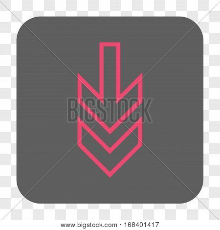 Direction Down interface toolbar button. Vector icon style is a flat symbol on a rounded square button pink and gray colors chess transparent background.