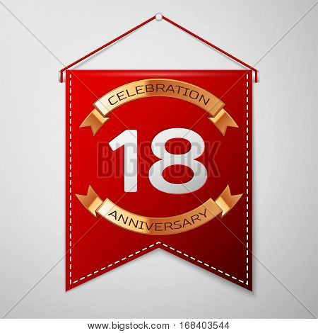 Red pennant with inscription Eighteen Years Anniversary Celebration Design over a grey background. Golden ribbon. Colorful template elements for your birthday party. Vector illustration