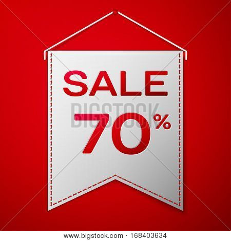 Grey pennant with inscription sale seventy percent Discounts over a red background. Sale concept for shops store market, web and other commerce. Vector illustration.