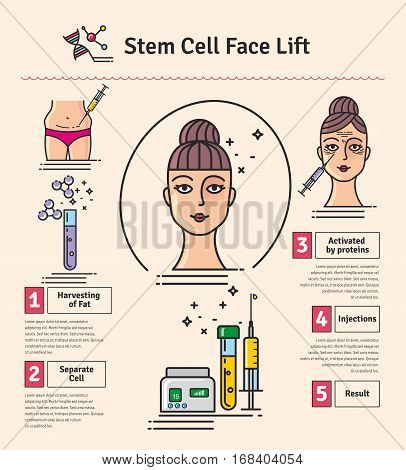 Vector Illustrated set with cosmetology stem cell facelift. Infographics with icons of medical cosmetic procedures.