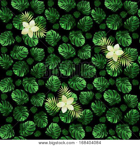 Seamless pattern of leaves monstera and exotic flowers. Dark green background with light blossoms.