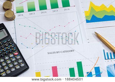 Profit concept - calculator, graph, pen and coin