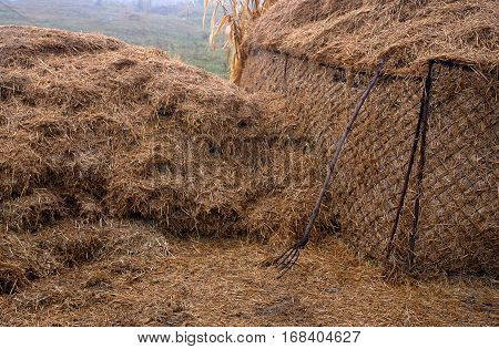 Straw bale and fork on the outskirts of the village in autumn
