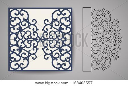 Laser Cut Invitation Card. Laser flourish cutting pattern for invitation wedding card.