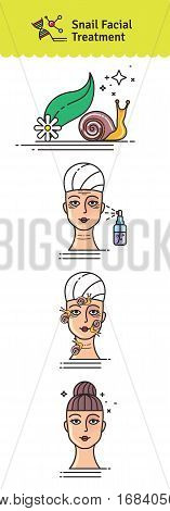 Vector Illustrated set with salon snail facial treatment. Infographics with icons of cosmetic procedures for face skin.
