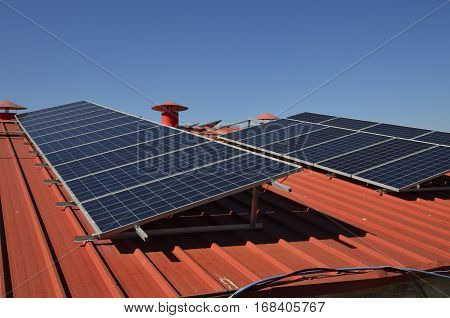 Solar panels on the roof of an industrial building