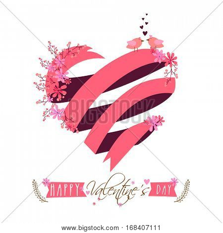 Creative heart made by pink ribbon for Happy Valentine's Day celebration.