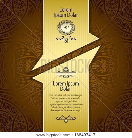 Template with Zen-tangle abstract pattern for package or label in brown  and gold for advertising perfume cosmetic alcohol tea coffee or other things