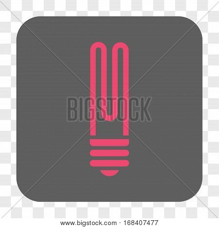 Fluorescent Bulb interface toolbar button. Vector icon style is a flat symbol in a rounded square button pink and gray colors chess transparent background.
