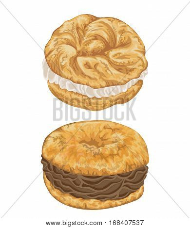 Paris brest cakes with praline and chocolate cream. French pastries in watercolor style. Isolated elements. Hand drawn vector illustration.