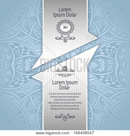 Template with Zen-tangle abstract pattern for package or label in blue and silver for advertising perfume cosmetic alcohol tea or other things