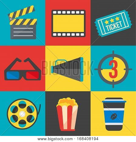 cinema film icon set movie symbol sign design illustration vector stock